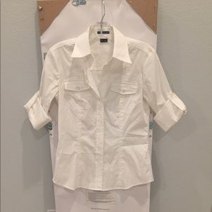Theory Cuffed Short Sleeved Blouse